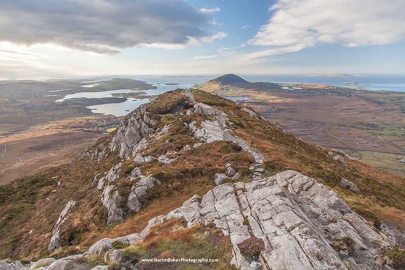 Tully Mountain and Ballynakill Harbour, view from Diamond Hill, Connemara, Galway, Ireland.