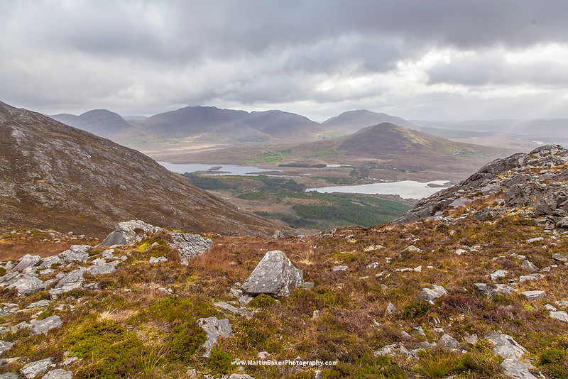 The Maumturk Mountains, view from Derrclare (the Twelve Bens), Connemara, Galway, Ireland.