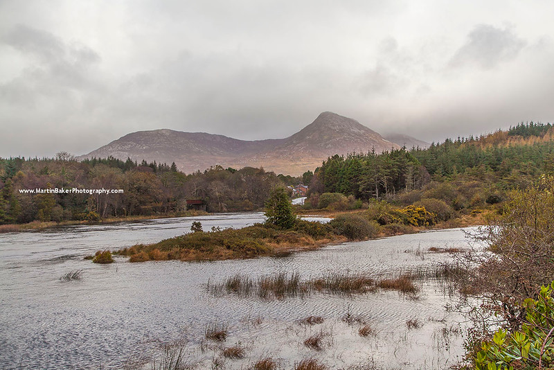 The Owenmore River and the Twelve Bens, Connemara, Galway, Ireland.