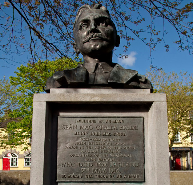 Bust of John Mac Bride, Westport, Co Mayo, 10 May 2009.    One of the leaders of the 1916 Easter rising, born in Westport.