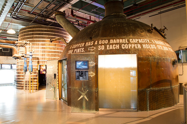 Guinness  Brewery - Copper Brewing Vat and signs - Dublin Ireland