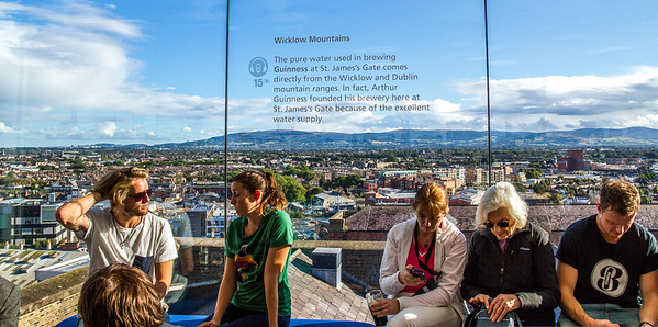 Guinness  Brewery - View of the Wicklow Mountains and window sign from The Gravity Bar -  Dublin Ireland