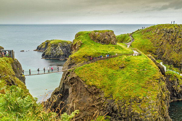 View of the Carrick-A-Rede Rope Bridge off the Causeway Coastline - Ballintoy, County Antrim Northern Ireland - mid distance