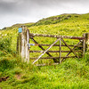Wooden gate in an Irish field - Ballintoy, County Antrim Northern Ireland