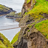 View of the Carrick-A-Rede Rope Bridge off the Causeway Coastline - Ballintoy, County Antrim Northern Ireland - closer