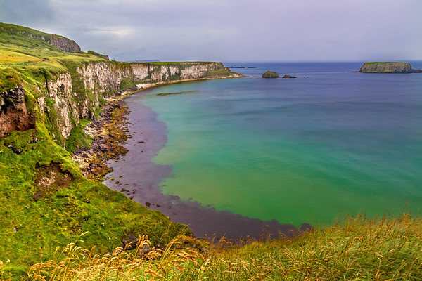 View of the Causeway Coastline by the Carrick-A-Rede Rope Bridge area- Ballintoy, County Antrim Northern Ireland