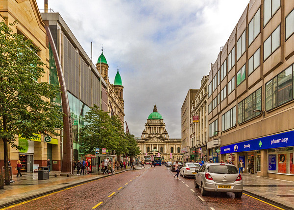 Looking down Donegall Place to Belfast City Hall - Belfast Northern Ireland