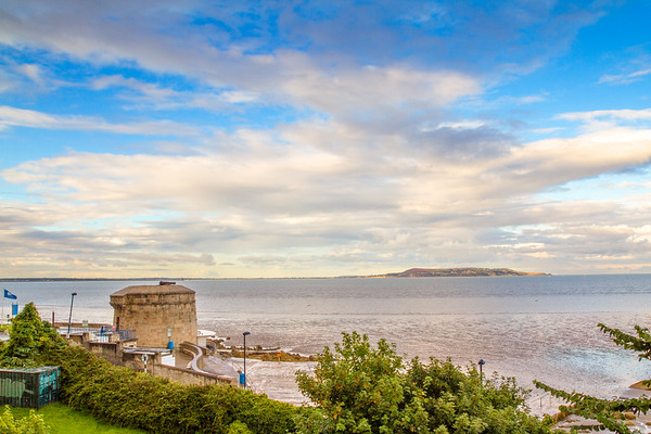 Martello Tower overlooking Dublin Bay in Brighton Vale, Blackrock County - Dublin Ireland -_