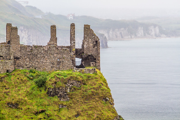 Dunluce Castle tower ruins in County Antrim - Northern Ireland - 2