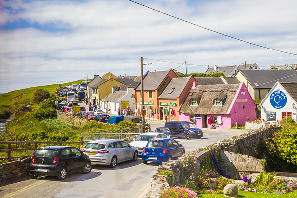 Colourful shops on Fisher street in Doolin in County Clare - Ireland