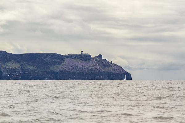 Cliffs of Moher and O'Brian's Tower from the ocean - County Clare - Ireland