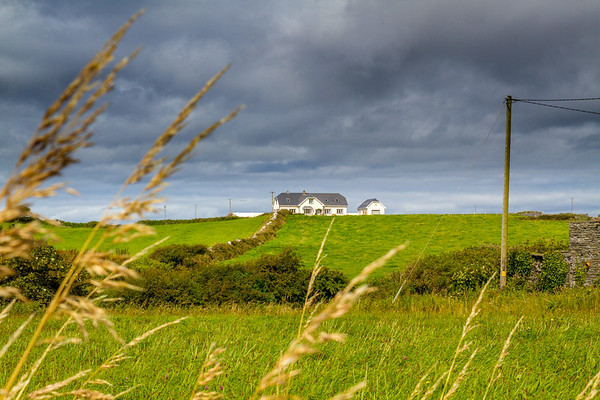 House in field with stone wall and shrubbery leading to house and framed by long grass and electrical pole - Doolin County Clare Ireland