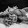 Sailors knot in a rope - Doolin Harbour  County Clare - Ireland - BW