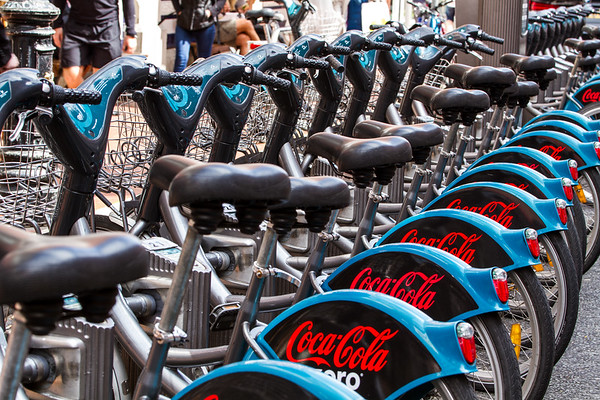 Rent A Bike - seats, lights, handlebars and advertising on mud guard - in Dublin Ireland