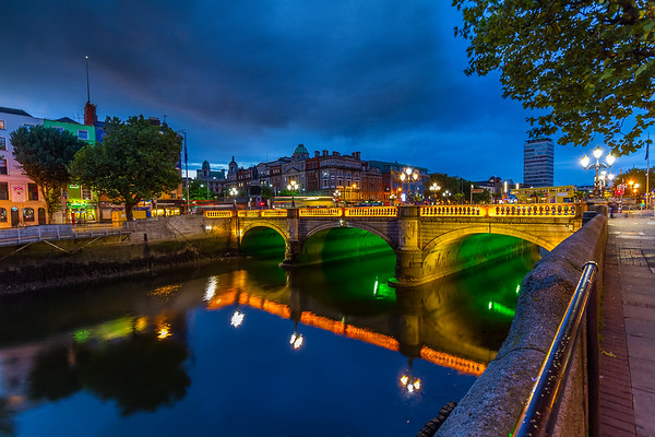 O'Connell Bridge over the Liffy River - blue hour - Dublin Ireland