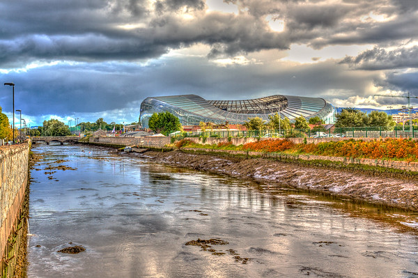 Aviva Stadium over River Dodder - Dublin Ireland - closer