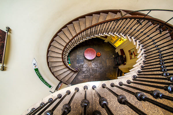 Looking down the stone spiral staircase inside Merchants Arch Bar and Restaurant on Wellington Quay - Dublin Ireland - 2