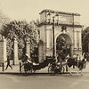 Horse and carriage in front of Arch in Dublin - Sepia