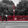 Bridge railing over the Grand Canal and Richmond St - Dublin - selective colour - red