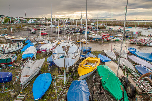 Boats on the shore at St Michaels Rowing Club  in Dun Laoghaire County - Dublin Ireland