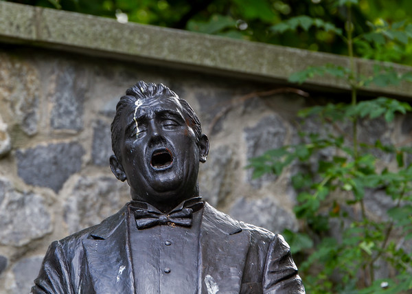 John McCormack Statue with bird poop in the eye in Iveagh Gardens - Dublin