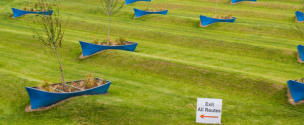 Boats on grassy hills in the gardens of the AOL Technologies Ireland buildings - Dublin Ireland