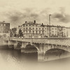 Grattan Bridge - Dublin Ireland - Sepia with white vignette