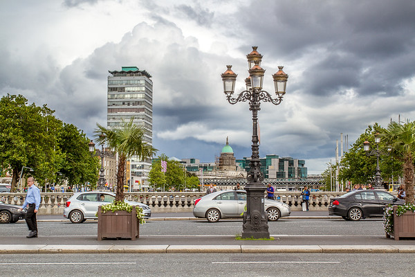 Looking across O'Connell past lamp post to The Custom House Dome - Dublin Ireland