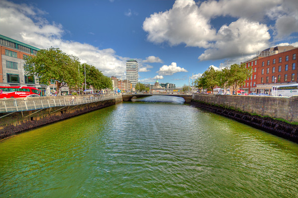 View up Liffy River - Dublin - HDR