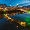 Ha'Penny bridge lit up during blue hour - Dublin Ireland