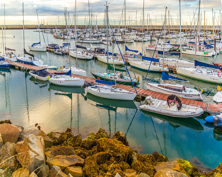 Boats tied up at the docks in Dun Laoghaire Harbour, County Dun Laoghaire - Rathdown, Ireland - 2