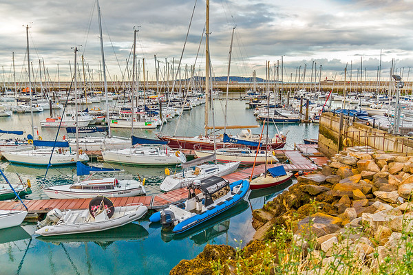Boats tied up at the docks in Dun Laoghaire Harbour, County Dun Laoghaire - Rathdown, Ireland