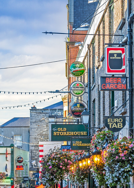 Looking down Crown Alley at The Old Storehouse Bar and Beer signs- Dublin Ireland - 2