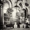 Delivering beer kegs to Merchants Arch Bar and Restaurant on Wellington Quay - Dublin Ireland - BW