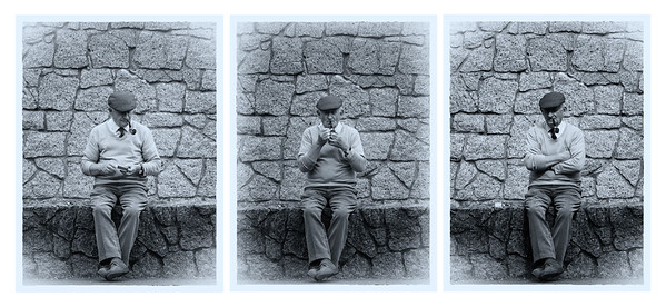 Triptych - Irishman and his pipe - BW