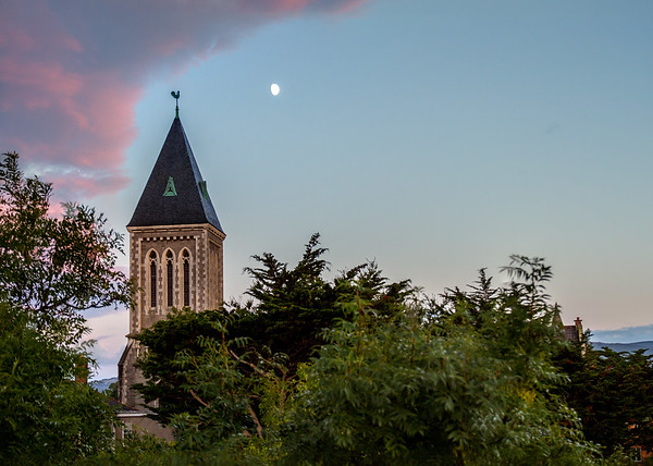 Evening moon over tower