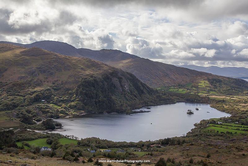 Glanmore Lake and Caha Mountains, Healy Pass, Beara Peninsula, Kerry, Ireland.