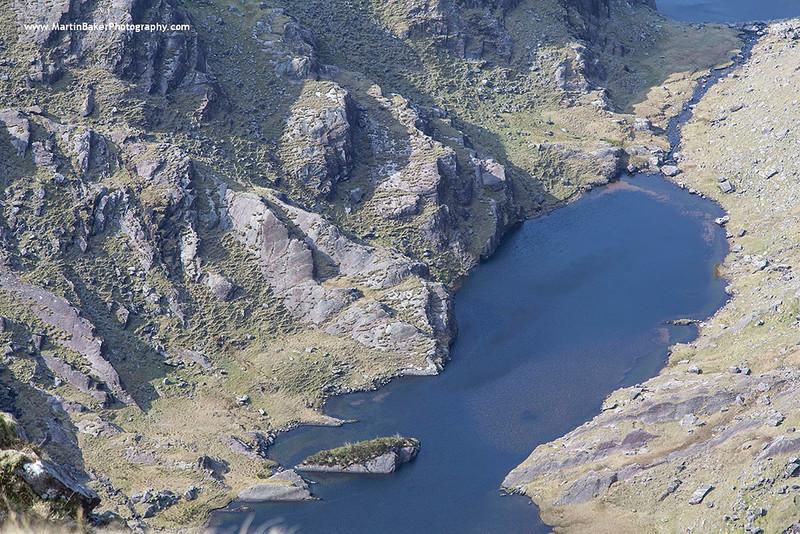 Coomasaharn Lake, Coomasaharn Horseshoe, Glenbeigh, Iveragh Peninsula, Kerry, Ireland.