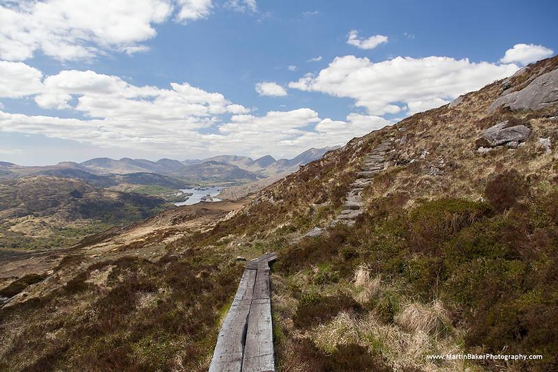 Upper Lake and MacGillycuddy's Reeks (view from Torc Mountain), Killarney National Park, Killarney, Kerry, Ireland.