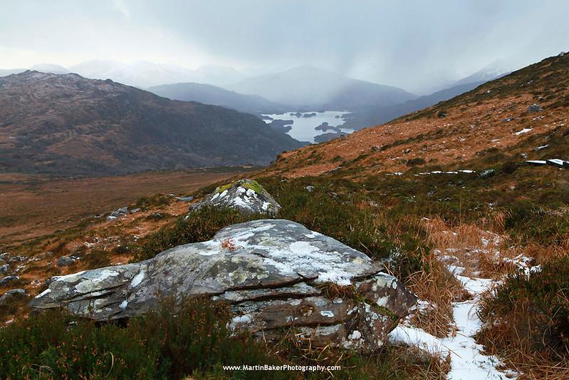 Torc Mountain, Upper Lake and MacGillycuddy Reeks, Killarney National Park, Kerry, Ireland.