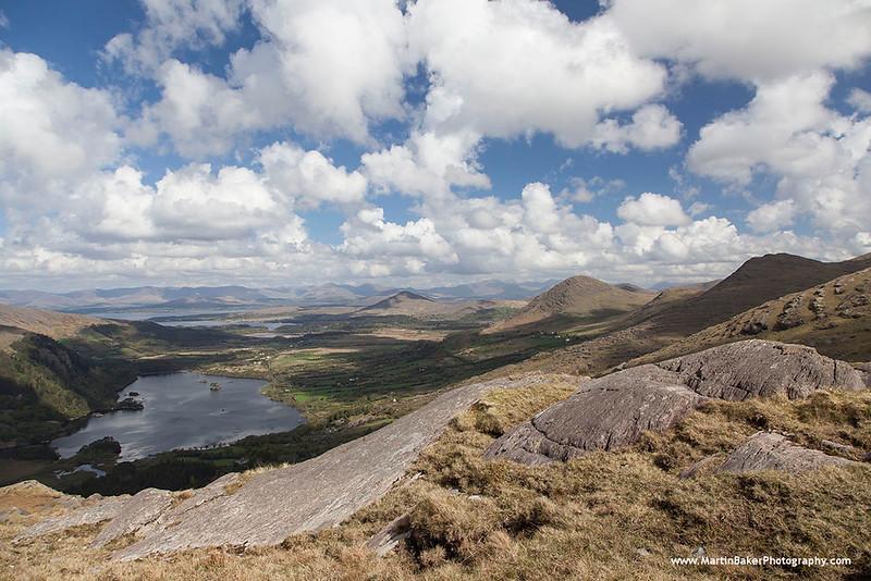 Caha Mountains and Glanmore Lake, Healy Pass, Beara Peninsula, Kerry, Ireland.