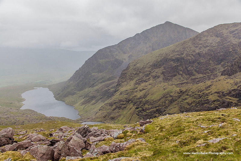 Brandon Peak and Loch Cruite, Faha Ridge, Dingle Peninsula, Kerry, Ireland.