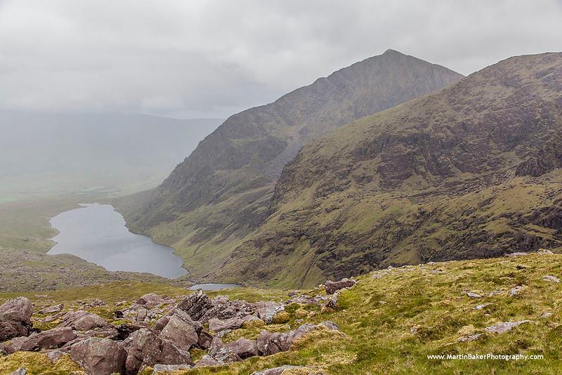 Brandon Peak and Loch Cruite, Faha Ridge, Dingle Peninsula, Kerry, Ireland.