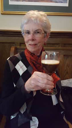 Joyce enjoying an Irish coffee at Lough Inagh Lodge
