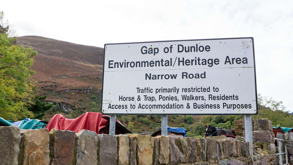 "Gap of Dunloe sign -  ""Narrow Road. Traffic primarily restricted to Horse & Trap, Ponies, Walkers, Residents, Access to Accommodation & Business Purposes."""