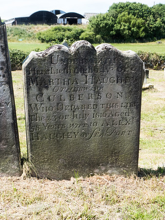Martha Culberson grave in St. Cuthbert's Church Cemetery. Balleytober Road, Bushmills.