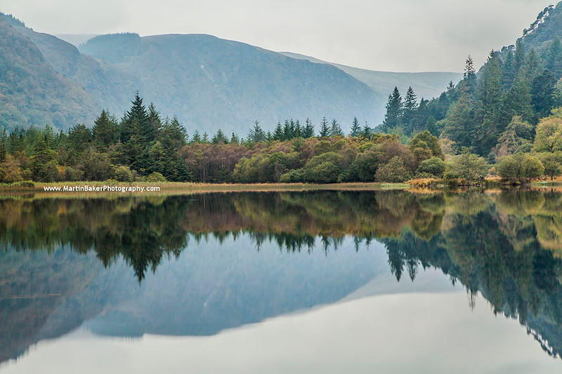 Lower Lake and Lugduff Spink, Glendalough, Wicklow Mountains National Park, Wicklow, Ireland.