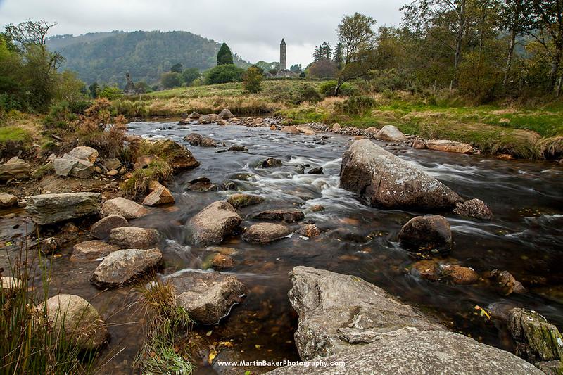 Glendasan River and Monastic City, Glendalough, Wicklow, Ireland.