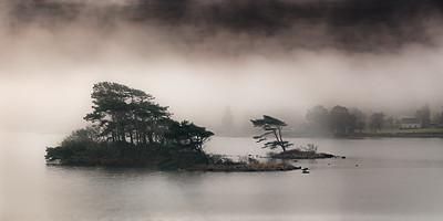 Lough Garroman in morning mist - Connemara, Ireland.