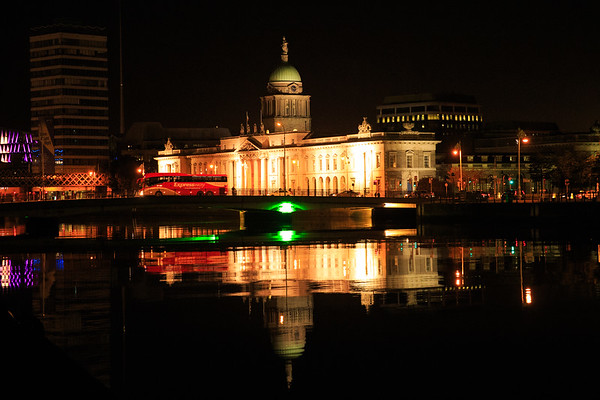 The Custom Building in Dublin at the river Liffey at night